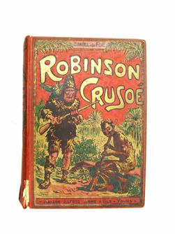 Aventures de Robinson Crusoë, traduites de Daniel de Foe, édition revue et corrigée avec soin, 88 gravures sur bois.